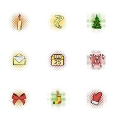 Holiday icons set pop-art style vector