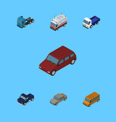 Isometric transport set of auto car truck and vector