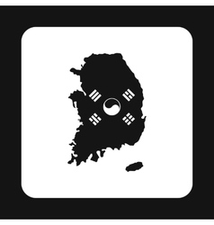 Map of south korea icon simple style vector