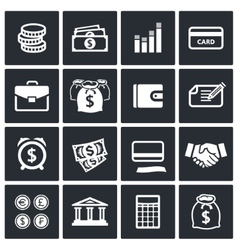Money finance icons set vector