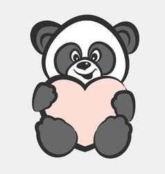 panda bear toy with heart vector image