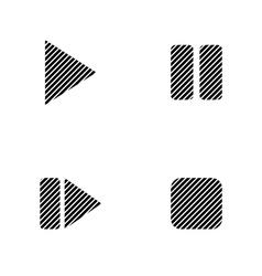 Play pause stop forward signs set vector image
