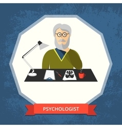 Psychologist with glasses at his workspace vector