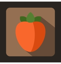 Ripe persimmon icon in flat style vector