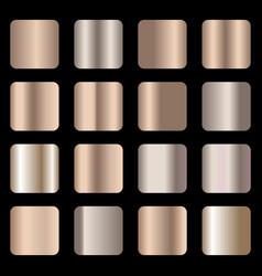 Set of bronze foil texture gradation vector