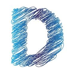 sketched letter D vector image