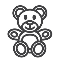 teddy bear line icon plush toy and baby vector image vector image