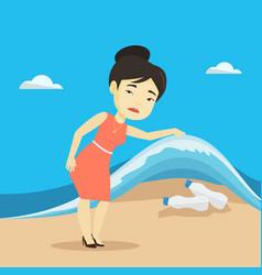 woman showing plastic bottles under sea wave vector image vector image