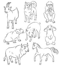 Bull dog goat horse monkey pig rabbit rat vector