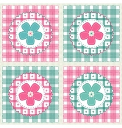 Floral background with decorative patchwork vector