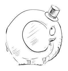 Cartoon elephant in top-hat vector image