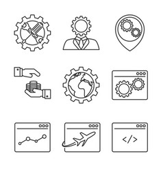 Internet marketing line icons vector
