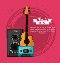 poster music festival in magenta background with vector image