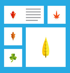 Flat icon maple set of linden aspen frond and vector