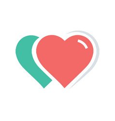 2 heart icon red and green color vector