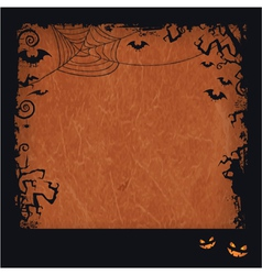 Orange Halloween grunge frame vector image