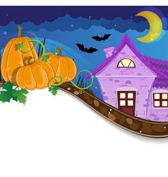 Halloween pumpkins near the brick house vector