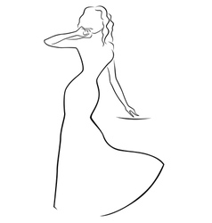Abstract woman in a long dress vector