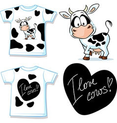Shirt with cute black and white cow - vector