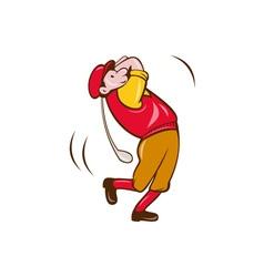 Vintage Golfer Swinging Club Teeing Off Cartoon vector image