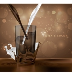 Splashes of milk with cocoa and chocolate vector