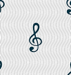 Treble clef icon seamless pattern with geometric vector