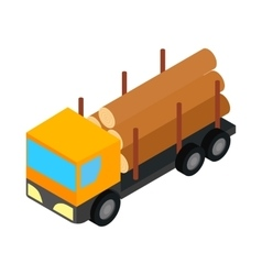 Logging truck icon isometric 3d style vector