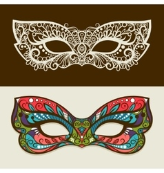 Festive silhouette and colored masks vector