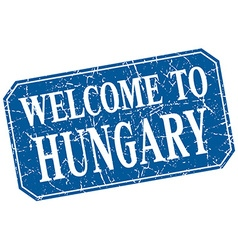Welcome to hungary blue square grunge stamp vector
