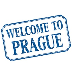 Prague - welcome blue vintage isolated label vector
