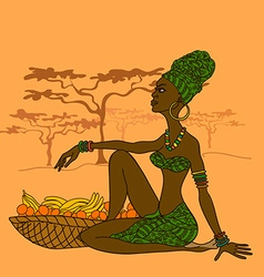 Beautiful african girl with fruit basket vector