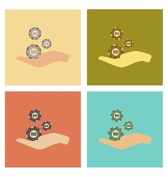 Assembly flat icons poker casino chips in hand vector