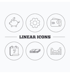 Piggy bank cash money and dynamics chart icons vector