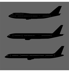 Aircraft silhouettes side view vector