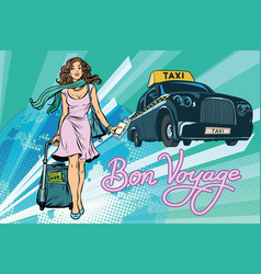 Beautiful young woman tourist passenger taxi vector
