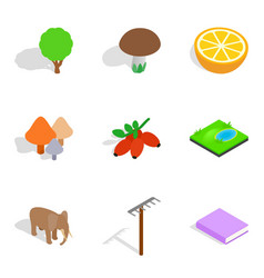Biology icons set isometric style vector