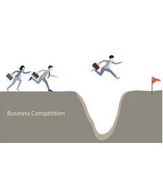 Business people jumping over gap vector
