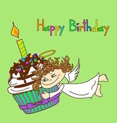 Card for birthday with angel and cupcake vector