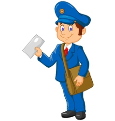 Cartoon postman holding mail and bag vector image