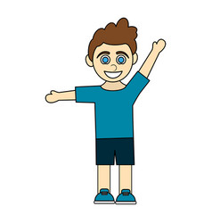 colorful caricature curly hair boy with open arms vector image vector image
