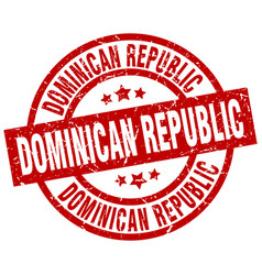 Dominican republic red round grunge stamp vector