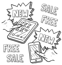 doodle iphoneish ipadish sale new free vector image vector image