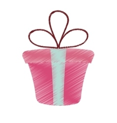 Drawing pink gift box present ribbon valentine day vector