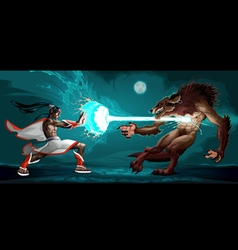 Fighting scene between elf and werewolf vector