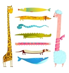 Fun cartoon long animals collection vector