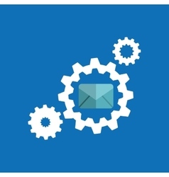 Gears elements message email icon vector