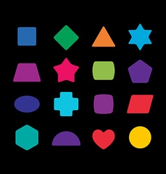 Geometric colorful rounded corners shapes set for vector image vector image
