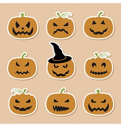 Halloween pumpkins set Graphic template Flat icons vector image vector image