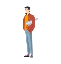Man in jeans and red jacket with roll of project vector