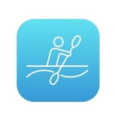 Man kayaking line icon vector